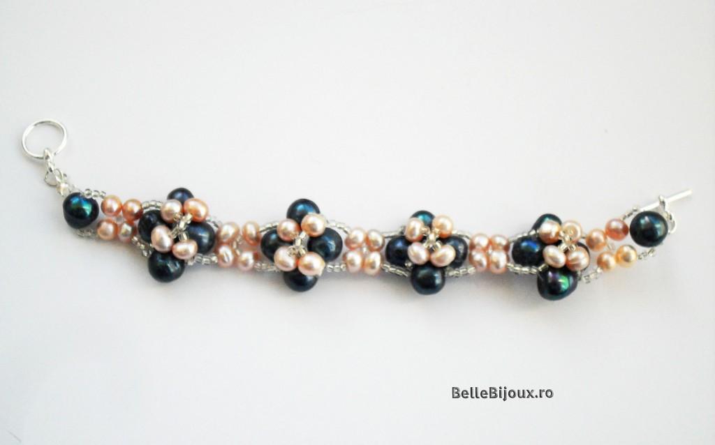 Set perle albastre si roz