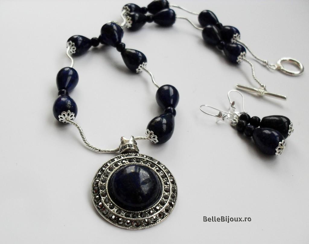 Set Lapis Lazuli - pandantiv cu strassuri