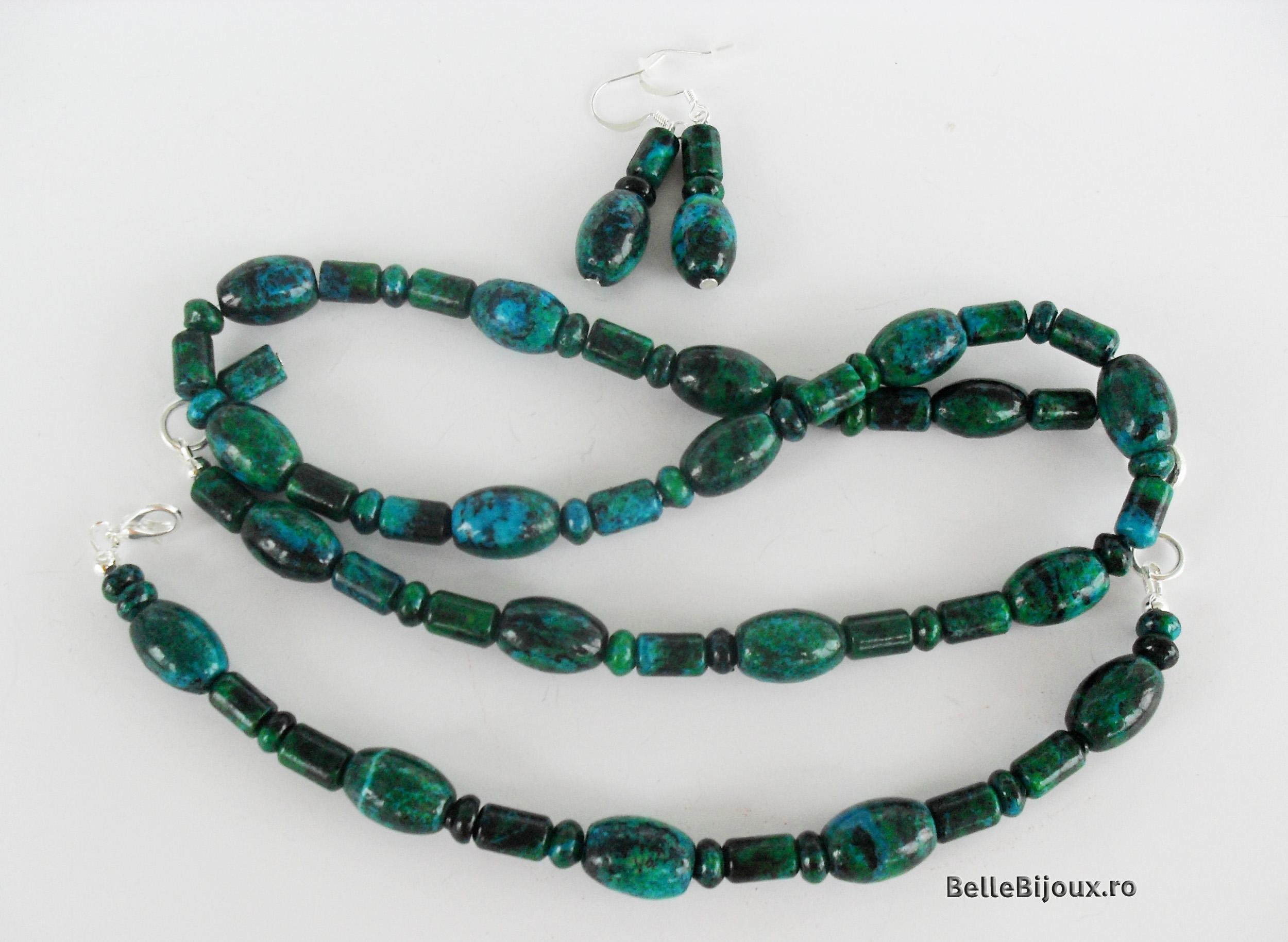 Set crisocola verde-albastru