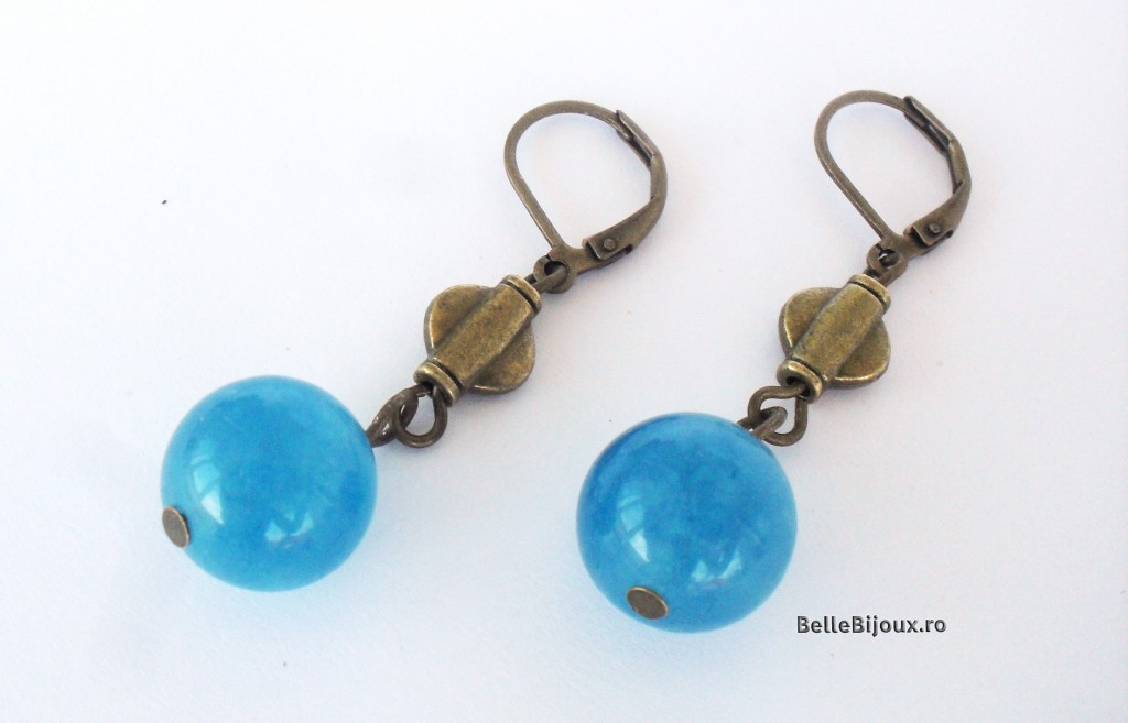 Set Agate albastre si perle auriu patinat